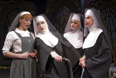 Amy Rutberg as Agnes, Charles Busch as Mother Superior, Alisan Frasier as Sister Walburga, and Julie Halston as Sister Acacius in THE DIVINE SISTER